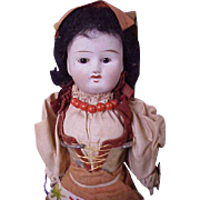 "9 1/2"" Antique Regional Bisque Head Doll with Closed Mouth All Original"
