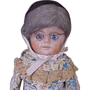 """14"""" Cute Wax Over German Paper Mache Doll with Glass Eyes"""