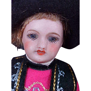"Adorable 5"" French Bisque Head Boy - All Original!"