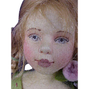 """Maggie Made Maggie Iacono 11"""" Peony Flower Girl Pressed Wool Felt Jointed Doll Artist LE 100 pieces from 2005"""