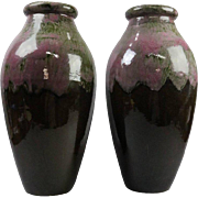 Pair of Arts & Crafts Drip Glaze Art Pottery Floor Vases by RRP Co Roseville