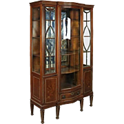 Antique Edwardian Mahogany Leaded Glass China Cabinet