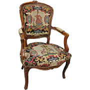 Vintage French, Louis XV Classical Style Fruitwood and Tapestry Armchair