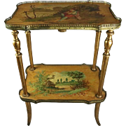 Antique French Hand-Painted Vernis Martin Giltwood and Bronze 2-Tier Stand, c1900