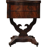 Antique Flame Mahogany Front Two-Drawer Flip-Top Sewing Stand, circa 1880