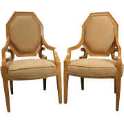Pair of Vintage Neoclassical Giltwood Figural Upholstered ArmchairsPair of Vintage Neoclassical Giltwood Figural Upholstered Armchairs