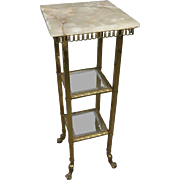 French Onyx and Brass Two-Tiered Plant Stand with Claw Feet, circa 1880