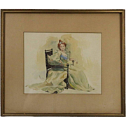 Antique Watercolor Portrait of Seated Woman Signed L. Lewis, circa 1880