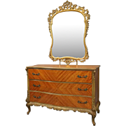 Vintage French Style Satinwood & Bronze Three-Drawer Dresser with Foliate Mirror
