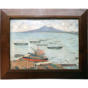 Antique Oil on Canvas Painting China Trade Style Painting Shipbuilding Bay of Naples, circa 1890