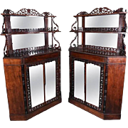 Pair of Rare Antique French Rosewood Credenza Corner Cabinets, Late 19th Century