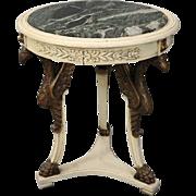 Vintage Figural Falcon Louis XV Marble-Top Center Table, circa 1940