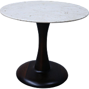 Mid-Century Danish Modern Teak Base with Marble Top Side Table, circa 1950