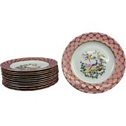 Set of 12 Custom Hand-Painted and Gilt Porcelain Plates Gold Chelsea Anchor