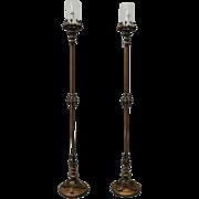Pair of Antique Cast Bronze Handel Style Torchiere Floor Lamps