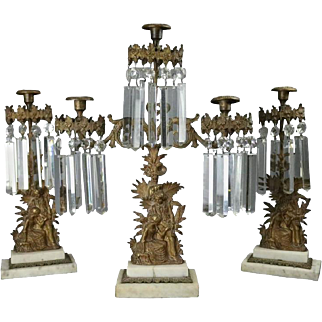 Antique Three-Piece Early Bronze Marble and Crystal Girandole Set Colonial Scene