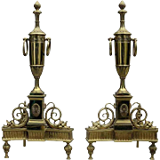 Pair of Antique Neoclassical Figural Bronze Andirons with Urns & Dolphin, circa 1900