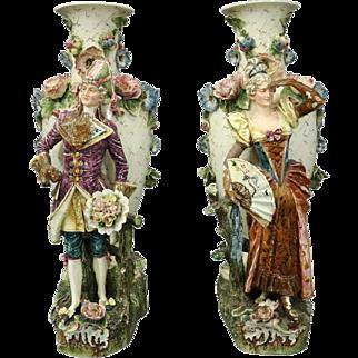 Pair of Antique Monumental Austrian Majolica Figural Floor Vase Sculptures