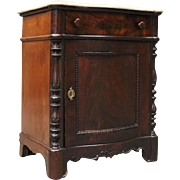 Antique Marble Top Mahogany Single Drawer Commode, circa 1880