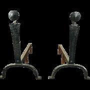 Antique Arts & Crafts Yellin School Hammered Hand-Wrought Iron Andirons