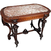 Victorian Renaissance Carved Walnut Stand with Inset Marble Top, circa 1890