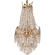 Ornate Antique French Louis XIV Crystal and Bronze Chandelier, circa 1900