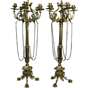 Pair of Antique Figural Bronze Five-Light Column Candelabra, Winged Lion Design