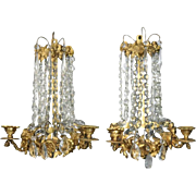 Pair of Antique French Louis XIV Style Gilt Bronze and Crystal Candelabra Sconces