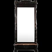 Monumental Antique Aesthetic Ebonized Pier Mirror with Marble Tray, circa 1890