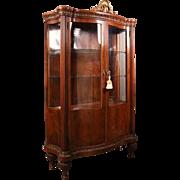 20th C Antique Louis XV French Style Mahogany Serpentine China Cabinet, circa 1900