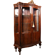 20th C Antique Louis XV French Style Mahogany Serpentine China Cabinet, circa 1900