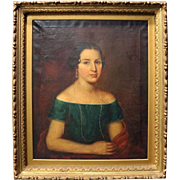 Antique Oil on Canvas Portrait Painting of Young Woman in Gilt Frame, circa 1840