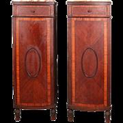 Pair Continental Mahogany Marble Top Inlaid Single Door Semainiers, circa 1900