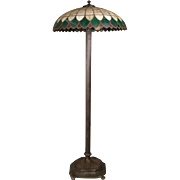 Arts and Crafts Antique Wilkinson School Bronze Lamp and Leaded Glass Shade