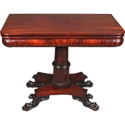 Flame Mahogany American Empire Classical Game Table with Paw Feet, circa 1840