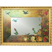 Antique Aesthetic Movement Hand-Painted Wall Mirror, Bluebirds and Roses