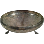 Arts & Crafts Period Danish Hand-Hammered Sterling Silver Footed Bowl, circa 1910