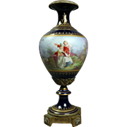 Antique Sevres Style Gilt Bronze and Porcelain Pictorial Pedestal Urn, circa 1880