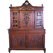 English Henry II Carved Walnut Court Cupboard with Beveled Galleries, circa 1880