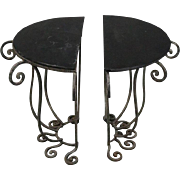 Pair of Contemporary Glass Top Wrought Iron Demilune Side Tables, 20th Century