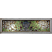 Antique Chunk Jeweled Tiffany LaFarge Style Window with Floral Urn Design, 19th C