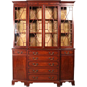 18th Century English George III Mahogany Banded & Inlaid Breakfront Cabinet