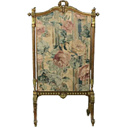 Antique French Louis XIV Gold Gilt & Tapestry Fire Screen, circa 1880