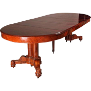 Rare Antique American Empire Flame Mahogany Dining Table, circa 1840
