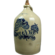 N. Clark Athens Blue 4-Gal Decorated Stoneware Jug, circa 1850