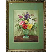 Vintage Floral Still Life Watercolor Painting of Roses by R. Johnson, 1986