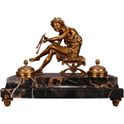 Antique French Marble and Bronze Pan Figural Ink Well, circa 1880
