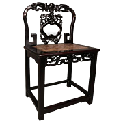Antique Chinese Hardwood Alter Chair with Marble and Mother-of-Pearl, circa 1900