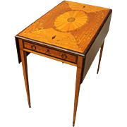 Antique Adams Style Rosewood and Mahogany Marquetry Pembroke Table, circa 1900