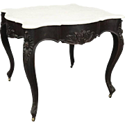 Antique French Carved Walnut and Marble Turtle Top Game Table, circa 1880